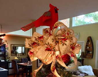 Metal Cardinal Christmas tree topper with wired Cardinal bow