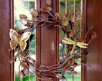 Iron Twig Wreath with Butterfly & Dragonfly