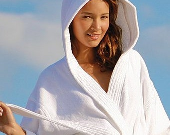 1b6c3d51bc Personalized White Hooded Bath Robe