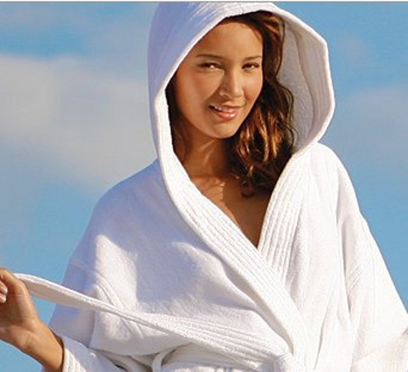 425f224240 Personalized White Hooded Bath Robe Monogrammed Turkish