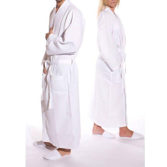 ff0e37c217 White Waffle Weave Kimono Robe Personalized Spa Bathrobe Monogrammed