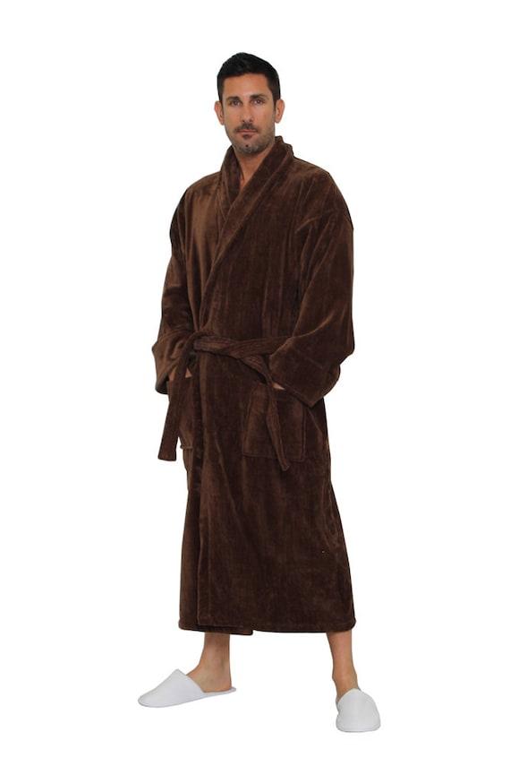 c9603e8e5cb6cd Turque en coton marron Robe peignoir personnalisé pour homme ou femme