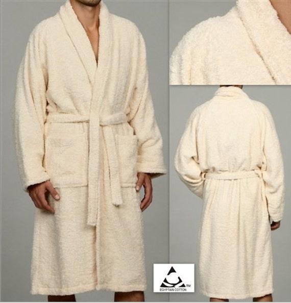 72e7f0a3f3 Ivory Egyptian Cotton Bath Robe Personalized Ivory Bathrobe