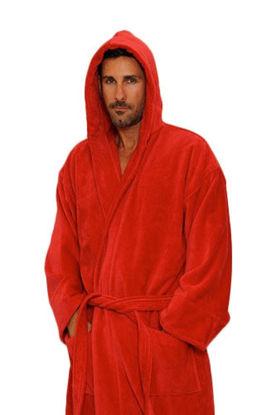 bb53d21196 Red Hooded Bathrobe Personalized Red Turkish Robe for Men