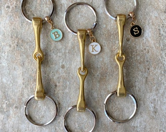 Personalized Snaffle Bit Key Ring, 3 colors, Horse Bit Keychain, Equestrian Gifts, Horse Gifts, Horse Theme Gift, Snaffle Bit Purse Charm