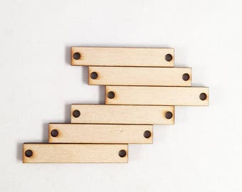6 laser cut solid rectangles with 2 holes. Laser cut wood rectangle art and jewelry supply. Geometric laser cut unfinished wood made in USA