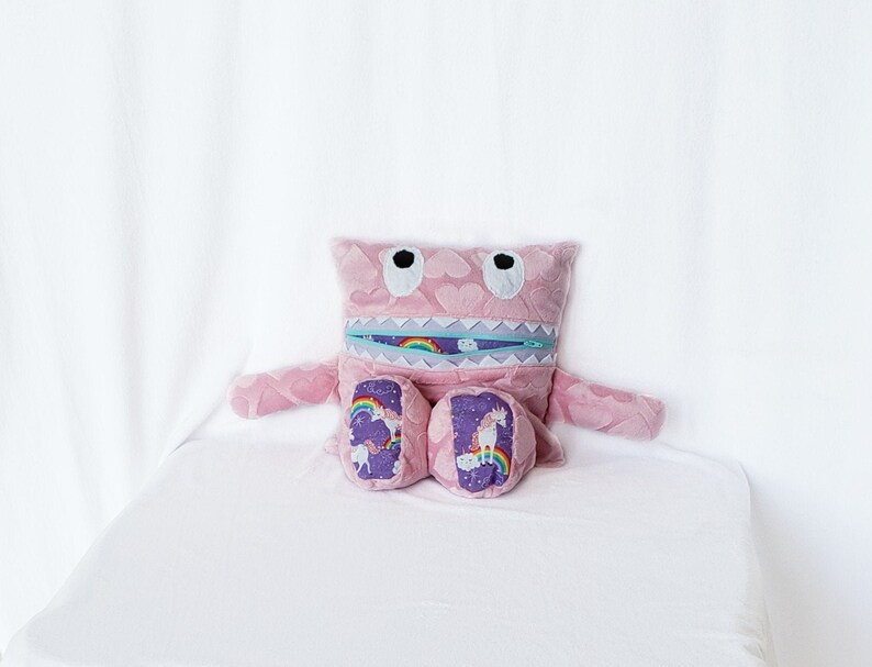 Pink Hearts Unicorn Monster Pajama Eater/ Monster Pajama image 0