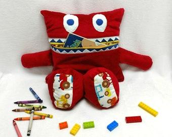 Tractor Monster Pajama Eater/ Monster Pajama Holder/ Pajama Bag Stuffie/ Stuffed Monster Pillow/ Travel Buddy/ Secret Keeper