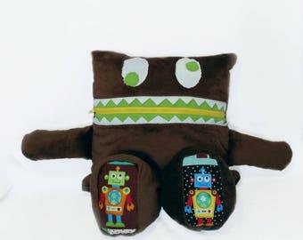 Robot Monster Pajama Eater/ Monster Pajama Holder/ Pajama Bag Stuffie/ Stuffed Monster Pillow/ Travel Buddy/ Pillow Stuffy/ Secret Keeper