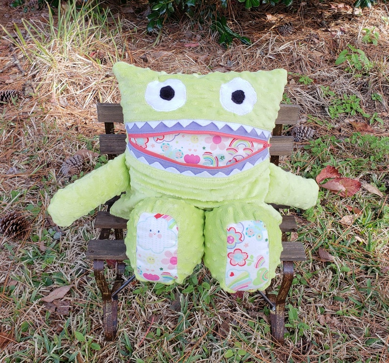 Lime Rainbows Hearts Monster Pajama Eater/ Monster Pajama image 0