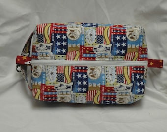 Patriotic Liberty Boxy Knitting or Crochet Project Bag, Cosmetic Pouch, Ditty bag, Large boxy bag, Makeup Toiletry Bag, Diaper bag pouch