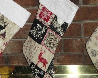 Christmas Stocking/ Snowflakes Stocking/ Deer/ Christmas Tree/ Winter Scenes/ Family Christmas/ Christmas Traditions/ Holiday Stockings