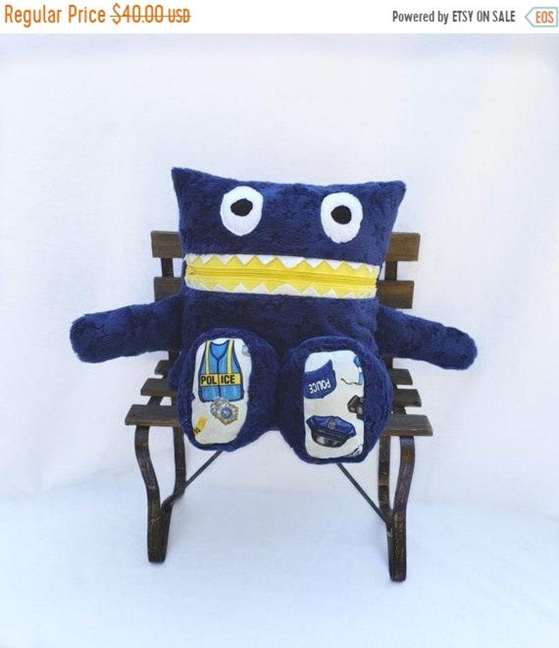 Police Monster Pajama Eater/ Monster Pajama Holder/ Pajama Bag image 0