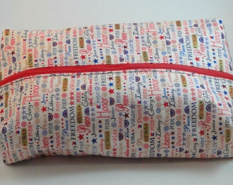 Patriotic Boxy Knitting or Crochet Project Bag, Boxy Cosmetic Pouch, Box Bag, Large boxy bag, Makeup boxy bag, Toiletry Bag, Pouch