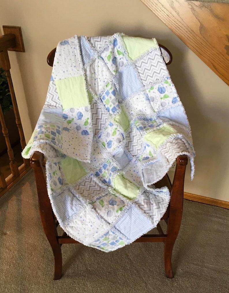 BabyToddler Boy Pastel Blue Green Grey Cotton Flannel Patchwork Rag Quilt