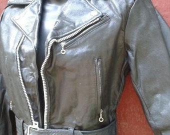 Boys Black Leather Motorcycle Vest 14 Childs Biker Kids 4XL