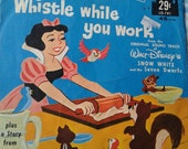 Vintage Disney 45 Vinyl Records, Farmer in the Dell, Snow White Whistle While You work, Midcentury, Disneyland Music Co., 1960 39 s LOT OF 2