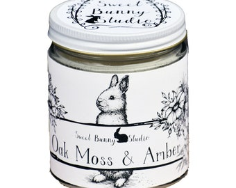 Oakmoss & Amber Scented All Natural Aromatherapy Candle | Coconut Soy Blended Wax | Toxin Free