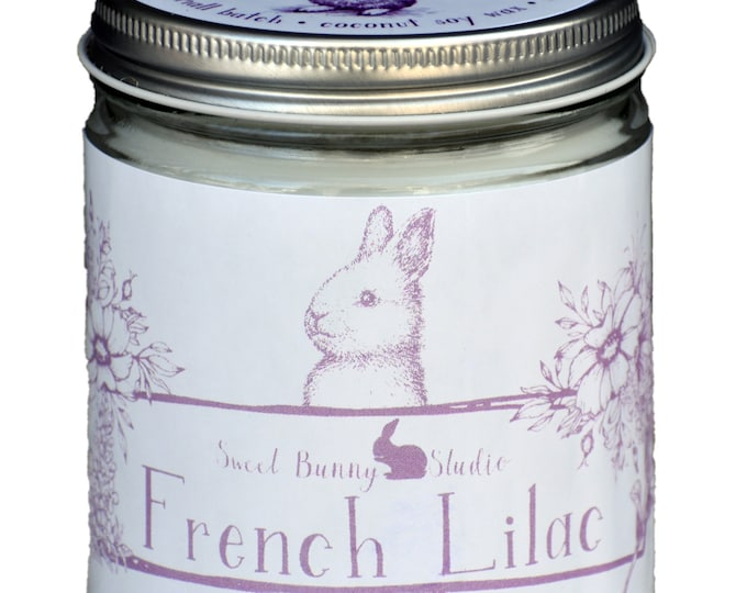 Featured listing image: NEW French Lilac Scented All Natural Aromatherapy Candle   Coconut Soy Blended Wax   Toxin Free