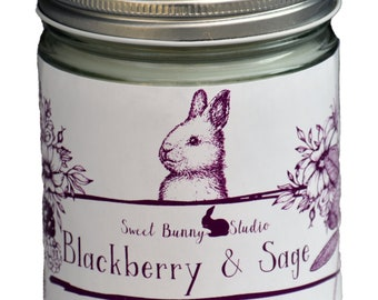 NEW Blackberry & Sage Scented All Natural Aromatherapy Candle | Coconut Soy Blended Wax | Toxin Free