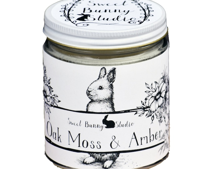 Featured listing image: Oakmoss & Amber Scented All Natural Aromatherapy Candle | Coconut Soy Blended Wax | Toxin Free