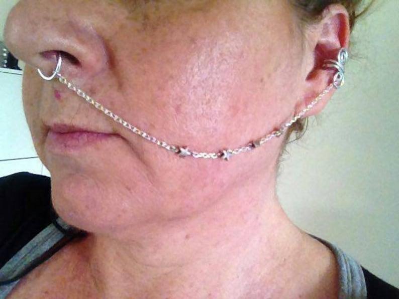 15bfc23a468d Cadena de Nariz a Oreja ear cuff septum en plata Bisuteria
