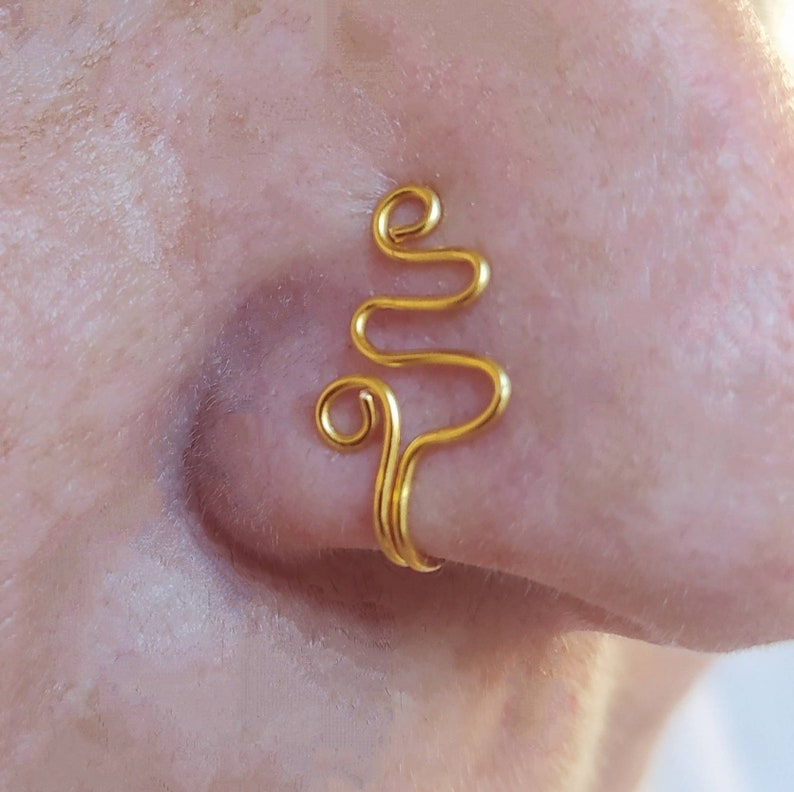Cute Wave Nose Cuff Body Jewelry NON PIERCING Jewelry colours Clip on Nose cuff. Tiny No Pierced fake nose ring