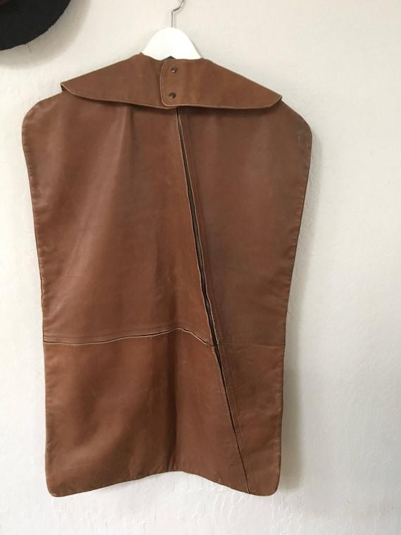 Vintage 1970's leather clothing garment travel bag