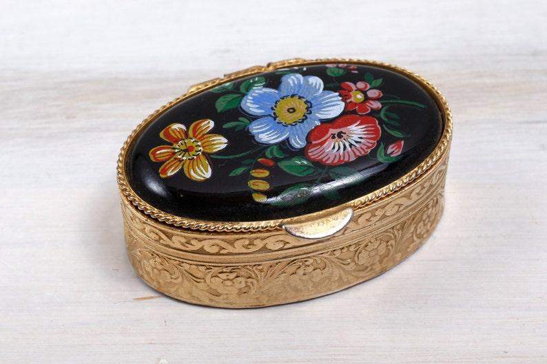 Vintage Small Jewelry Khokhloma Folk Art Box Ring Bearer Jewelry Wedding Hand Hammered painted Memory Box Engagement Organizer USSR ohtteam