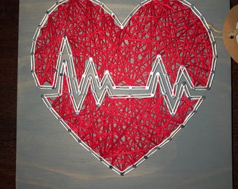 Nurse Heart String Art Sign - nurse sign - heartbeat sign - decorative sign - doctors sign - gift under 25 dollars