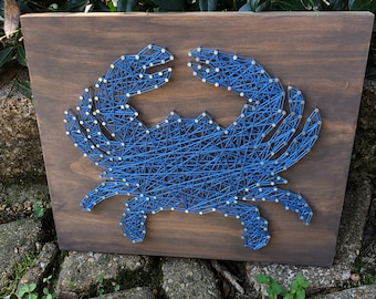 String Art Blue Crab Sign - wooden sign - beach decor - gift for the crabber - home decor - crab sign