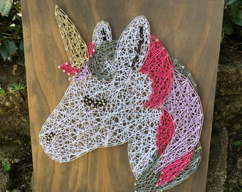 Unicorn String Art Sign - unicorn sign - girls room sign - decorative sign - birthday gift - Christmas gift