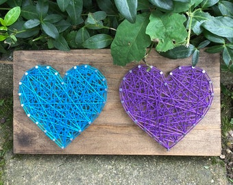 String Art Duo Heart Sign- wooden sign - Valentine's Day gift - wedding gift - decorative sign- wall art sign