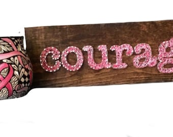 String Art Courage Sign - breast cancer - wooden sign - pink ribbon