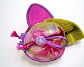 Handmade Flower Brooch, Pink Green Mauve Fabric Pin, Hat Brooch, Scarf Brooch, Flower Sculpture Brooch, Fabric Jewellery, Women's Gift Idea