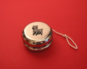 Jack Russell Terrier Dog Breed Retractable Reel Chrome Badge ID Card Holder Clip
