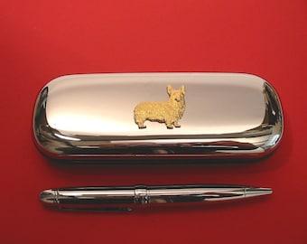 Corgi Dog Motif on Chrome Notebook Card Holder /& Pen Christmas Gift