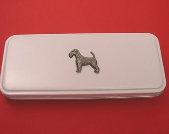 Airedale Terrier Pink Wooden Pen Box /& Pens Airedale Christmas Gift Stationery