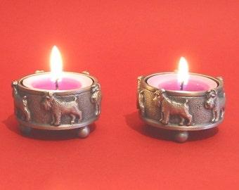 A Pair Of Miniature Schnauzer Pewter Tea Light Holders - Wife Christmas Gift - Miniature Schnauzer Gift - Schnauzer Mum Gift - Pet Dog Gifts
