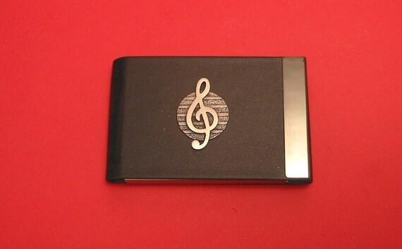Treble Clef Design noir PU cuir porte-cartes avec main fonte Motif en étain musique enseignant-cadeaux
