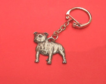 Staffordshire Bull Terrier Pewter Motif Key-ring Fathers Day Gift