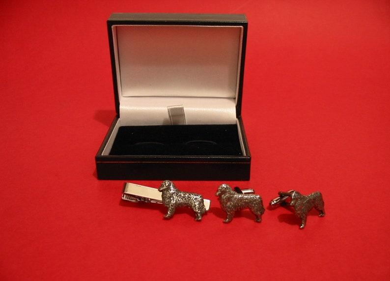 Australian Shepherd Design Cufflinks /& Tie Clip Set Groomsman Best Man Usher Wedding Christmas Birthday Pet Dog Gift