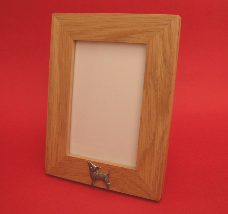 Yorkshire Terrier Landscape Real Oak Picture Frame 4 x 6 With Hand Cast Pewter Motif Mother/'s Day Father/'s Day Gift