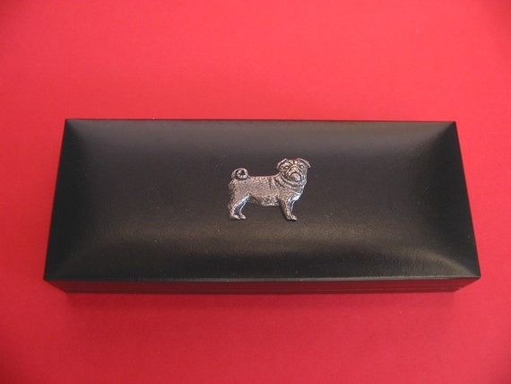 Pug Dog on Black Faux Leather Pen Box with Pens Dad Mother Christmas Gift