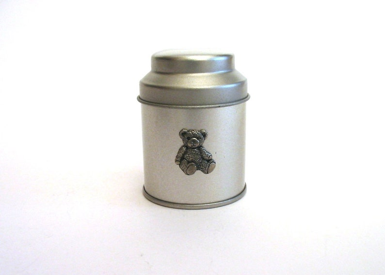 Teddy Bear Motif On A Small Silver Round Tin For Sewing Craft Stationery Jewellery Money Wedding Birthday Christmas Gift
