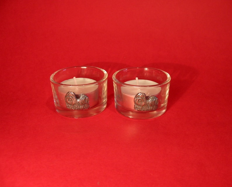 Shih Tzu Motif On A Pair Of Round Glass Tea Light Candle Holders Family Pet Small Dog Birthday Wedding Christmas Gift