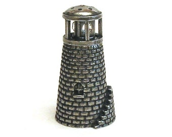 Lighthouse Pewter Thimble - Moving Collectible Thimble With Swarovski Crystals - Lighthouse Gift - Unique Thimble Collector Gift
