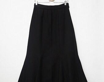 841d9acbf8a Flared Flounce Skirt - Ruffle Hem Skirt - Tapered Waist Skirt - Black High  Waist Skirt - 90 s Vintage