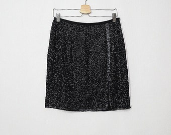 203a74fb3d04 Silk Beaded Mini Skirt - Embellished Skirt - Glamour Fashion - Party Skirt