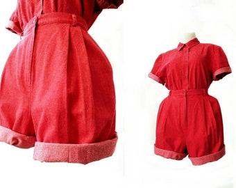 3b64cf74228 vintage denim two piece set - size medium - red denim set - 90 s shorts  plus matching top